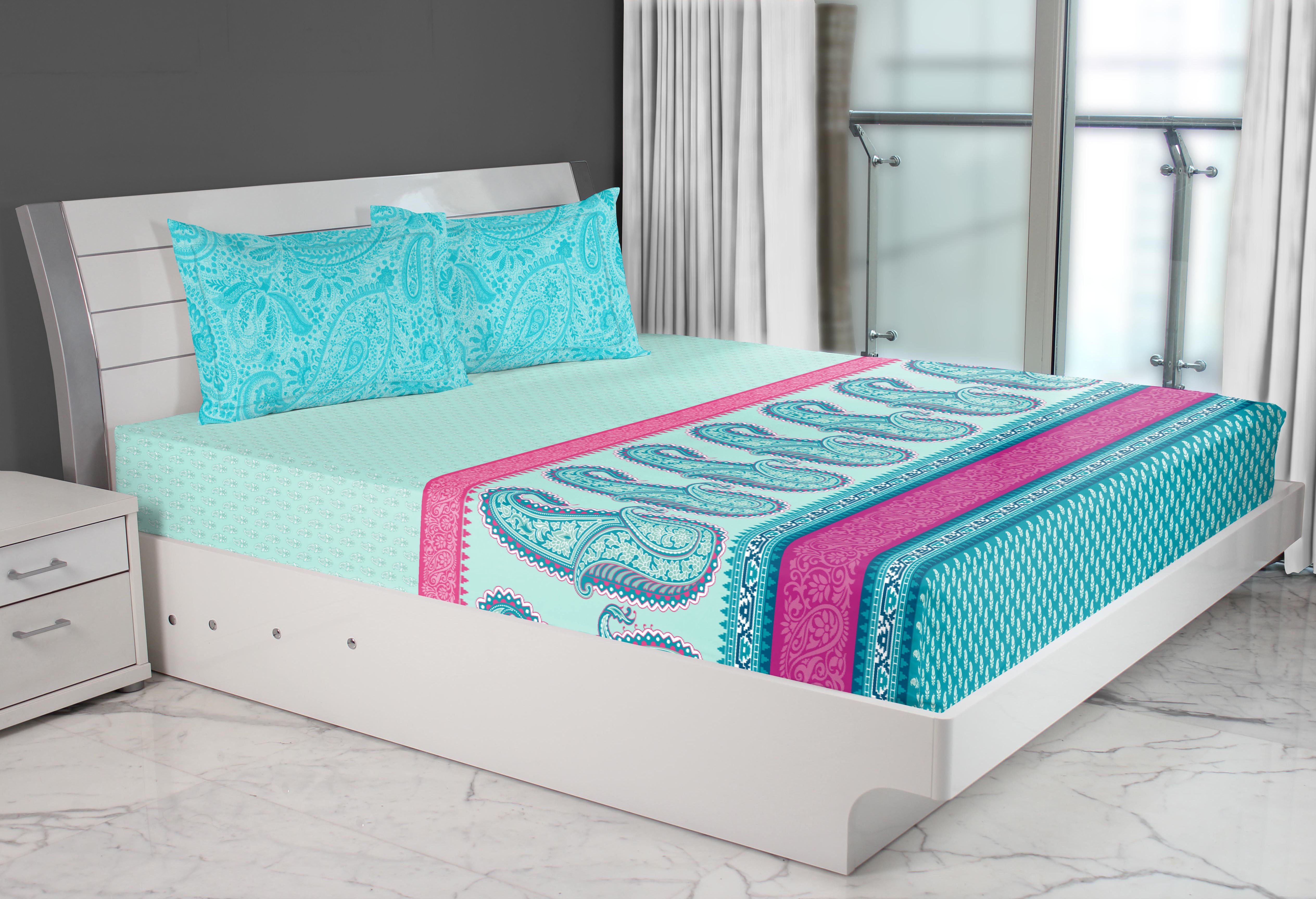 Emilia Cotton Double Bed Sheets in Turq Colour by Living Essence