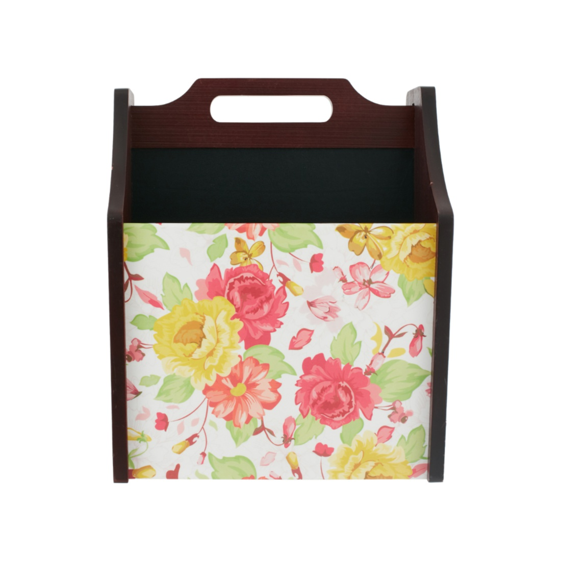 English Floral Magazine Rack Wood Kitchen Storage in Multi Colour Colour by Living Essence
