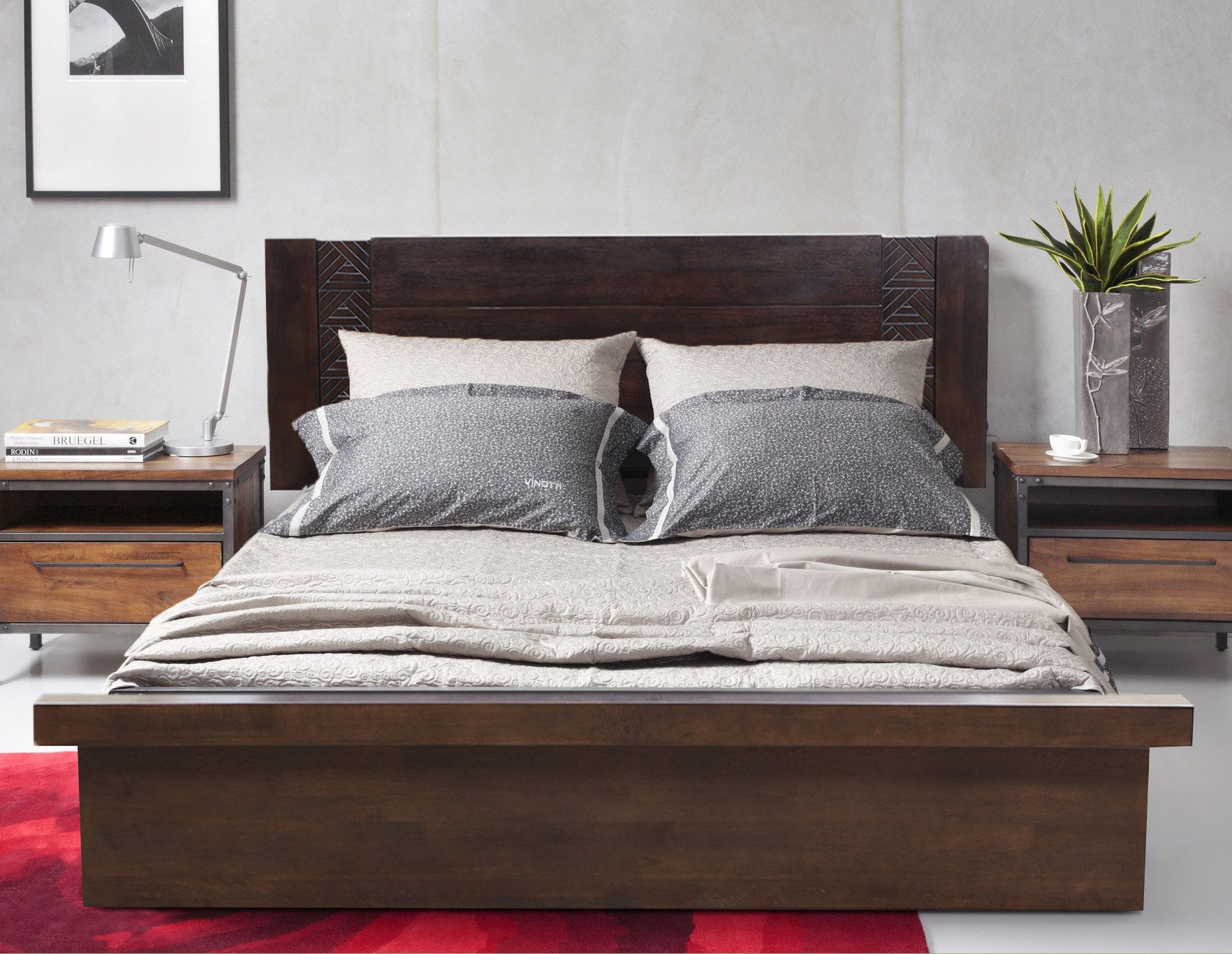 Fabian Solid Wood Box Storage Queen Size Bed in Wenge Colour by HomeTown