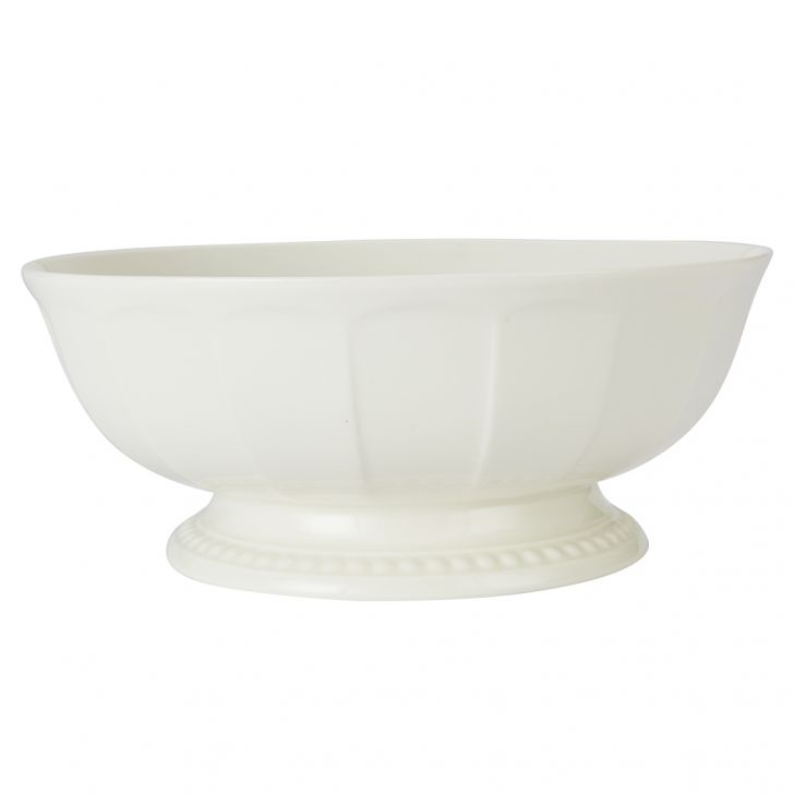 Florence Salad Bowl 21.5 Cm Ceramic Serving Bowls in White With Gold Line Colour by Living Essence