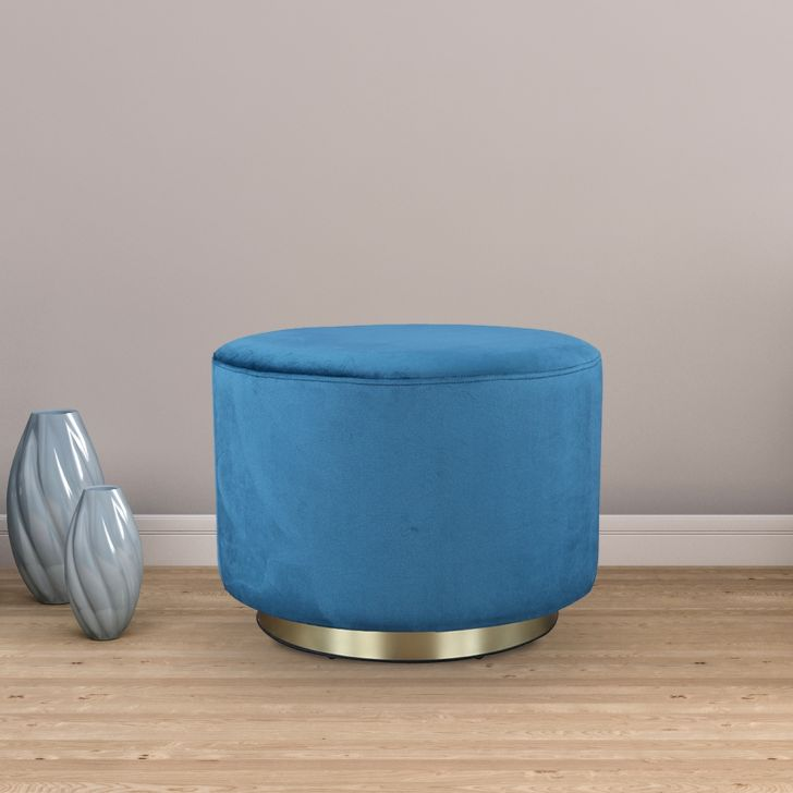Popcorn Fabric Ottoman in Teal Colour by HomeTown