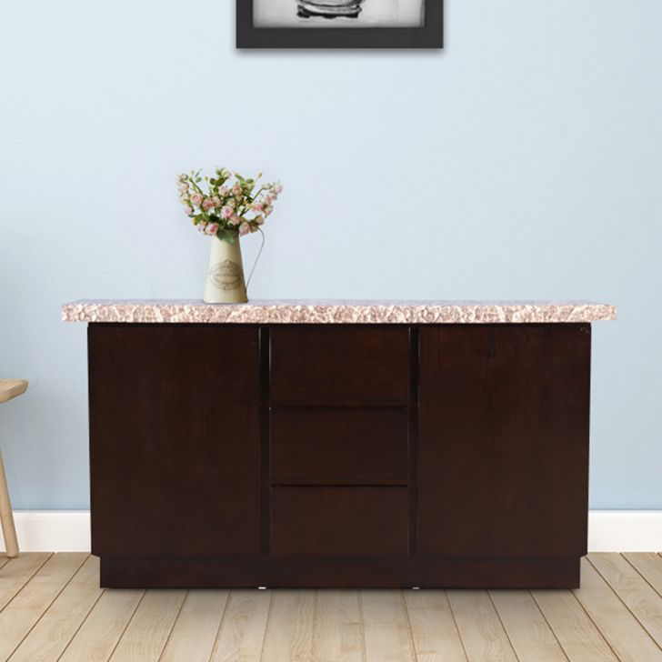 Alexandria Rubber Wood Storage Sideboard in Walnut Colour by HomeTown