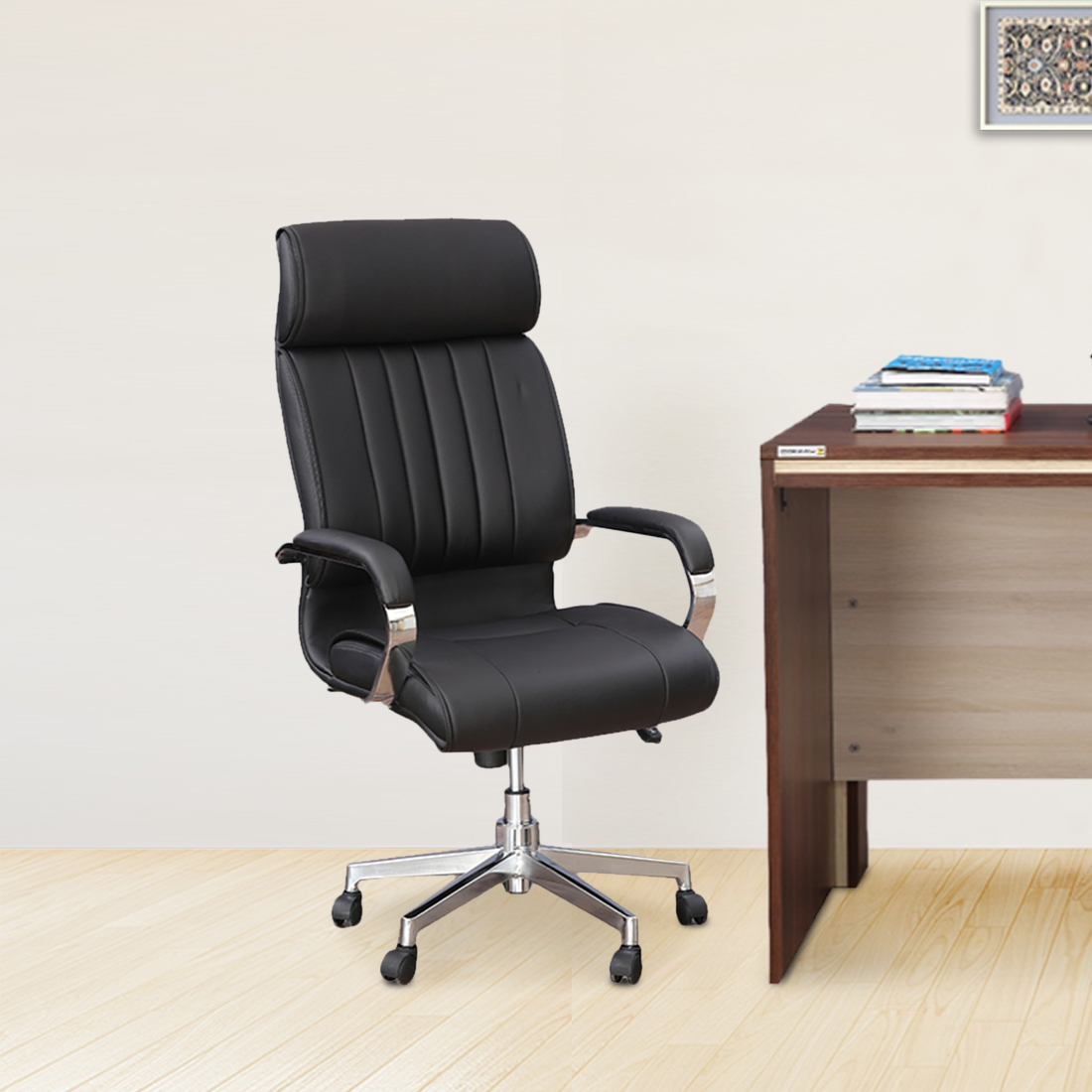 Quadra Half Leather High Back Office Chair in Black Colour by HomeTown