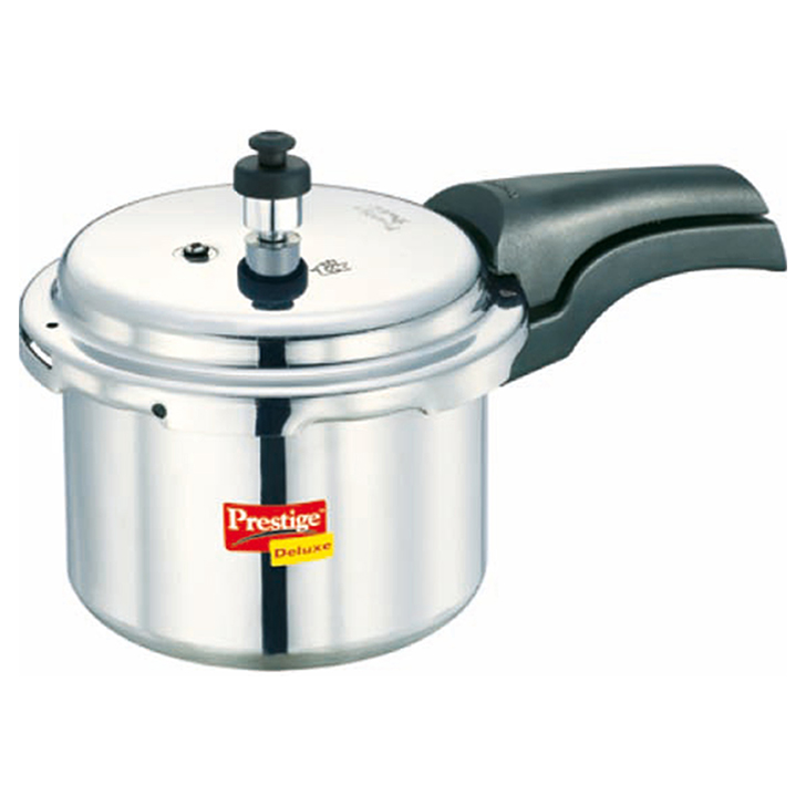 Prestige Deluxe Plus Aluminum 3 Ltr Pressure Cooker Aluminium Cookers in Silver Colour by Prestige