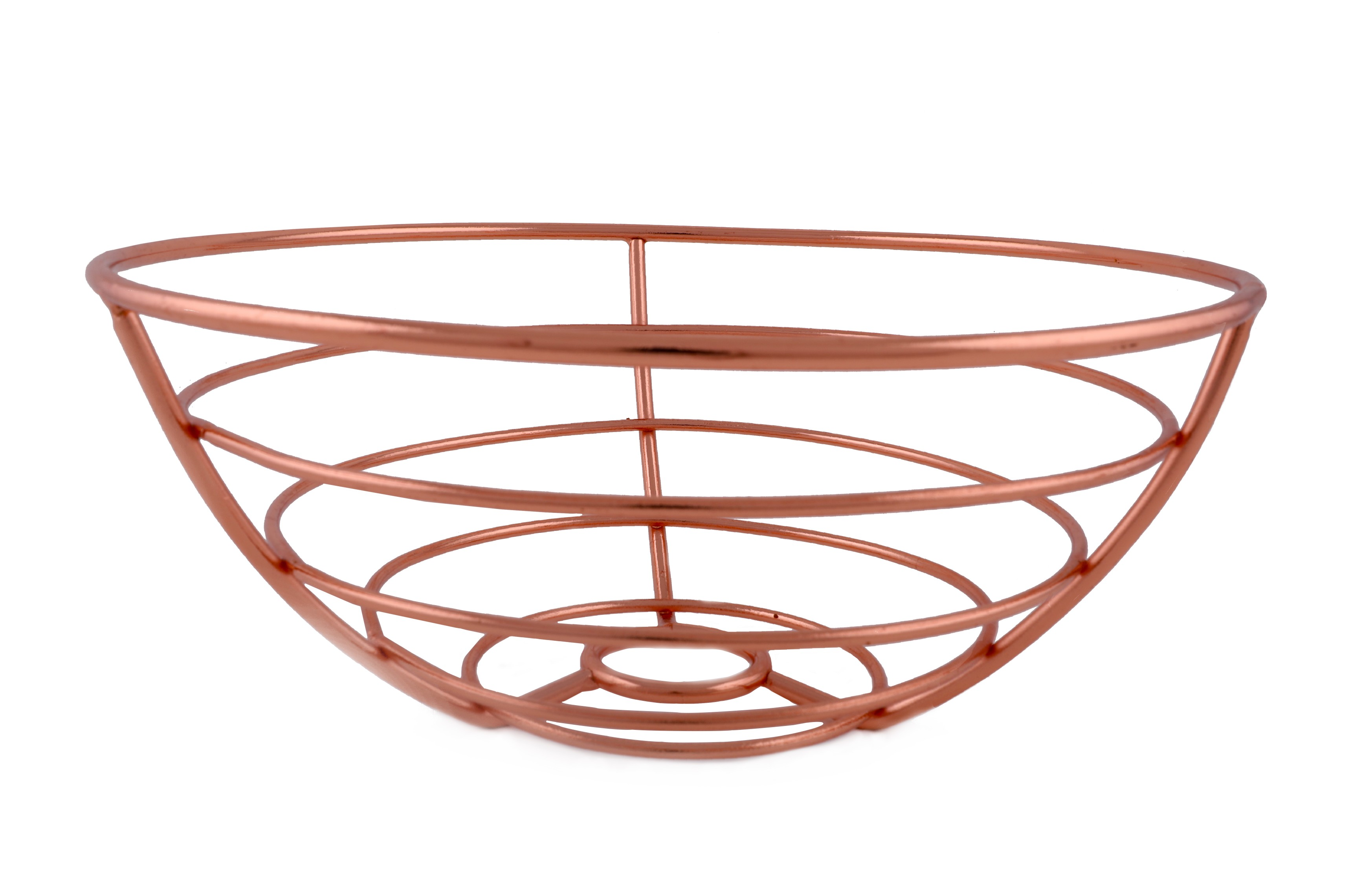 Round Fruit Basket Copper Chromeware in Rose Gold Colour by HomeTown