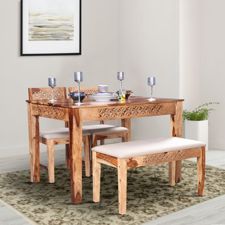 Floris Solidwood Four Seater Rectangle Dining Set with Bench in Teak Colour by HomeTown
