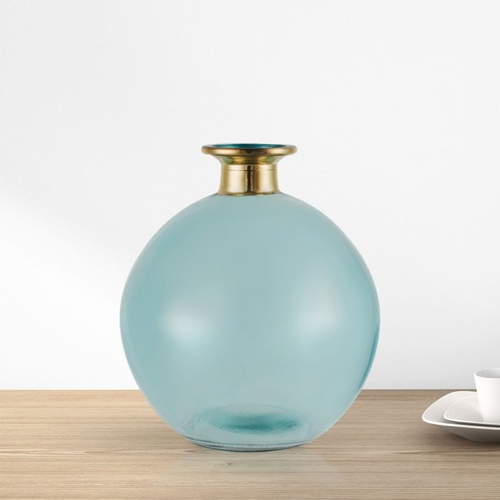 Marvela Oval Glass 14 cm Glass Vase in Blue Colour by Living Essence