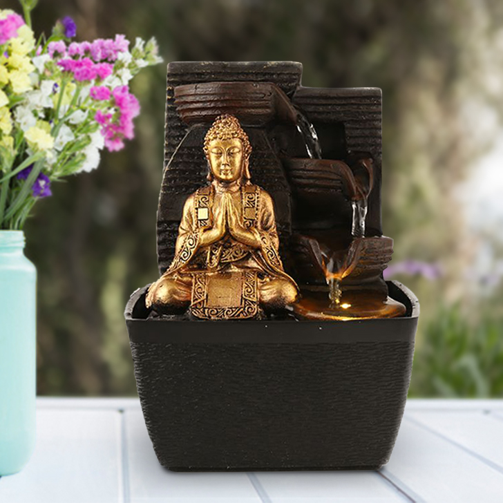 Impression Buddha Pot Polyresin Small Fountains in Brown/Gold Colour by Living Essence