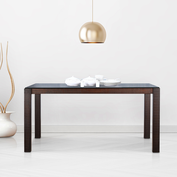 Carlton Solid Wood Six Seater Dining Table in Burn Beech Colour by HomeTown