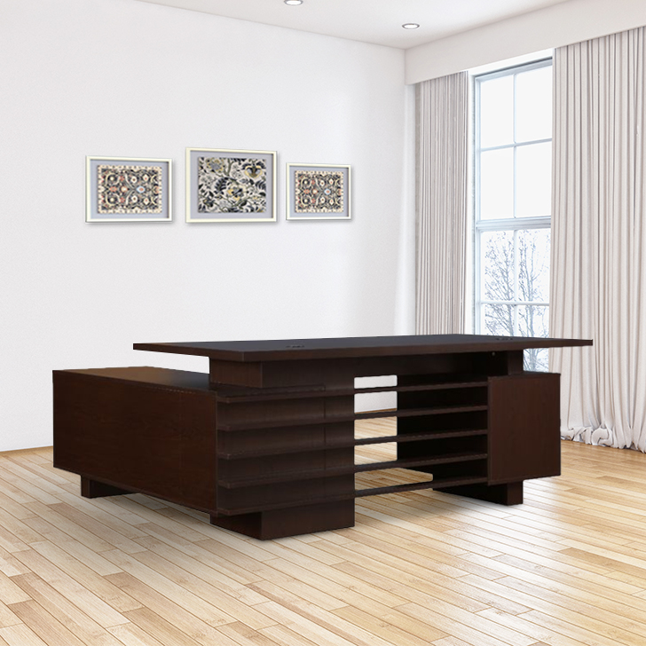 Topmark Engineered Wood Office Table in Wenge Colour by HomeTown