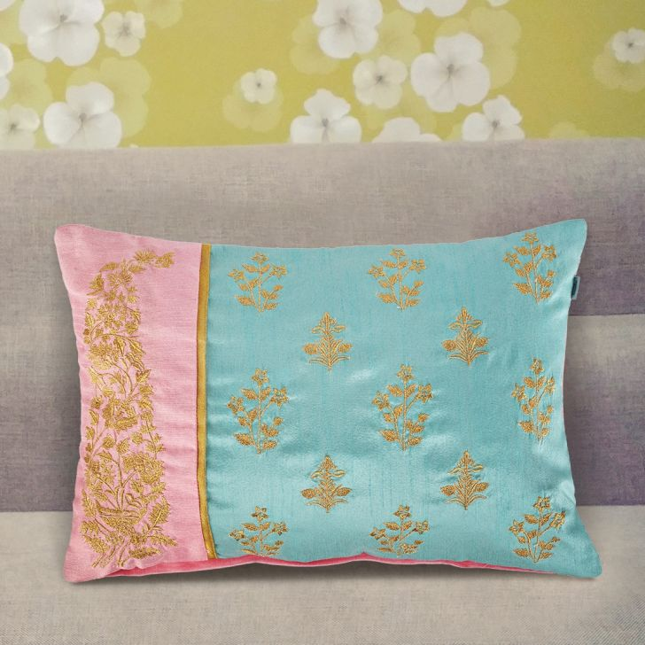 Patch Butta Cushion Covers in Seagreen Colour by Living Essence