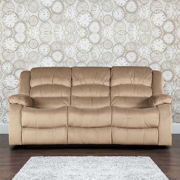 Bradford Fabric Three Seater Recliner in Camel Colour by HomeTown
