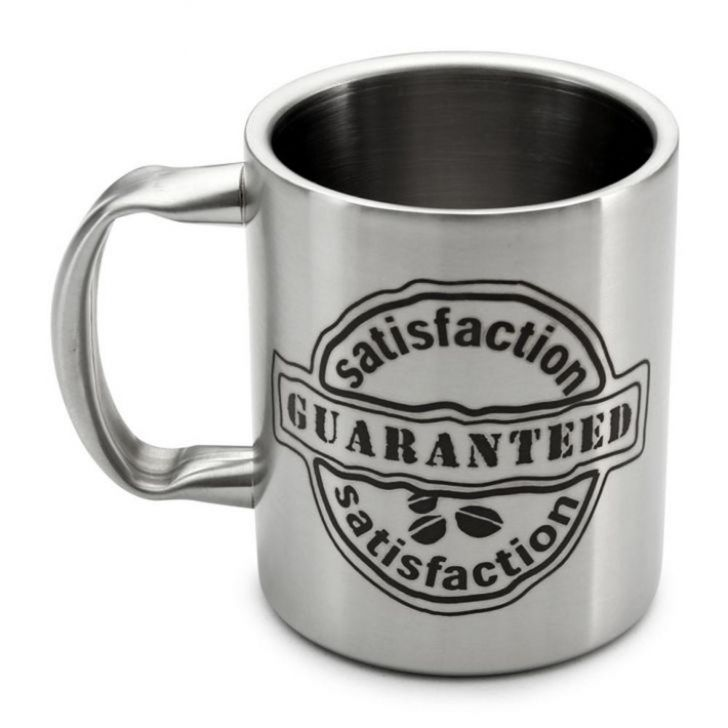 Hot Muggs Satisfaction Guaranteed Steel Walled Mug 350 Stainless steel Coffee Mugs in Silver Colour by HotMuggs