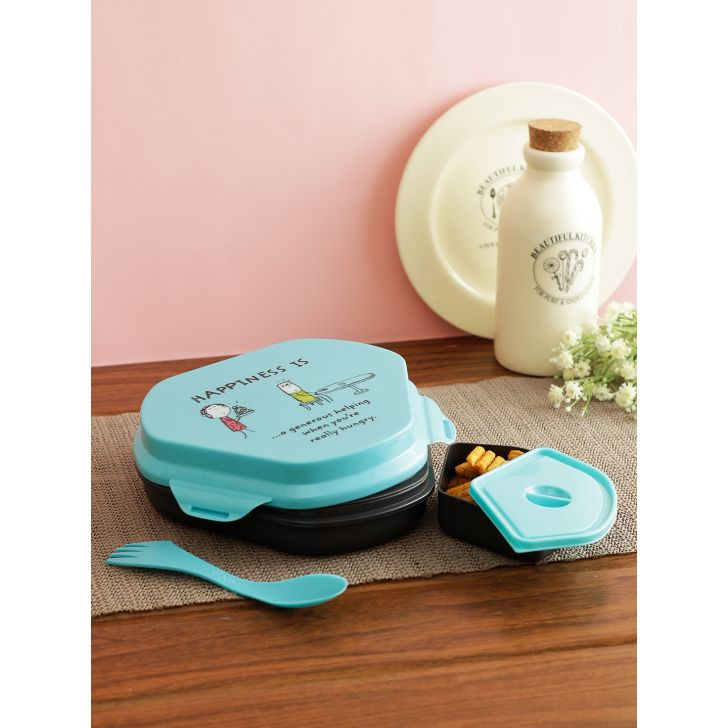 Living essence Plastic Lunch box in Multi Colour by Living Essence