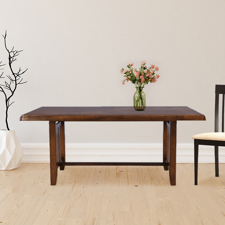 Detroit Solid Wood Six Seater Dining Table in Walnut Colour by HomeTown