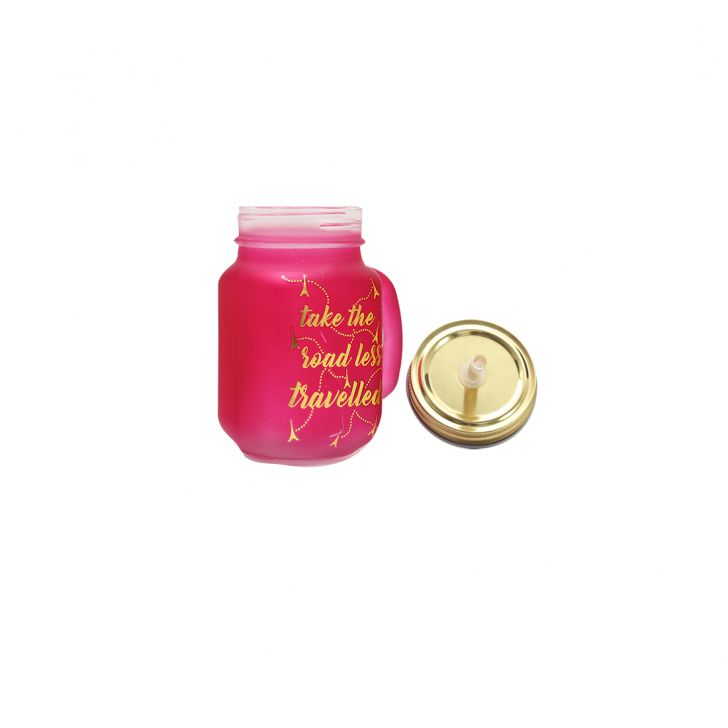 Love To Travel Golden Pink Mason Jar Glass Mason Jars in Pink & Gold Colour by HomeTown