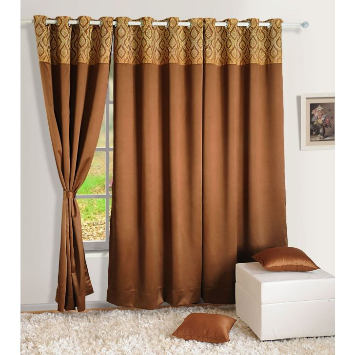 Solid Blackout Long Door Curtain In Brown Color By Swayam
