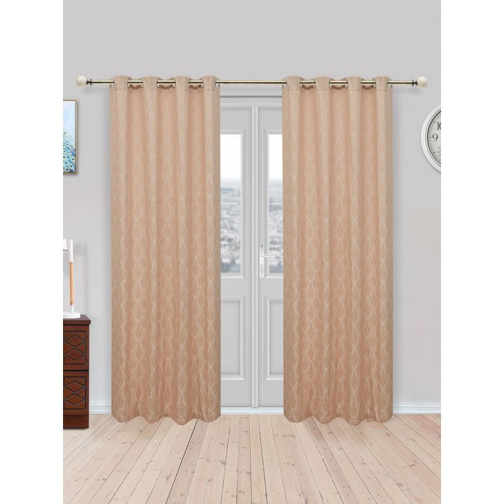 Fiesta Jacquard Set of 2 Cotton Door Curtains in Beige Colour by Living Essence