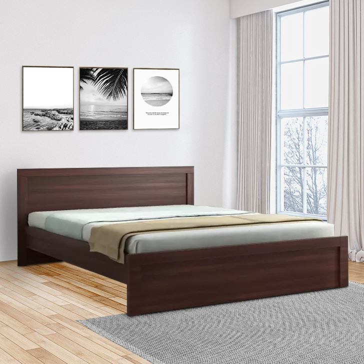 Dazzle Engineered Wood King Size Bed in Walnut Colour by HomeTown