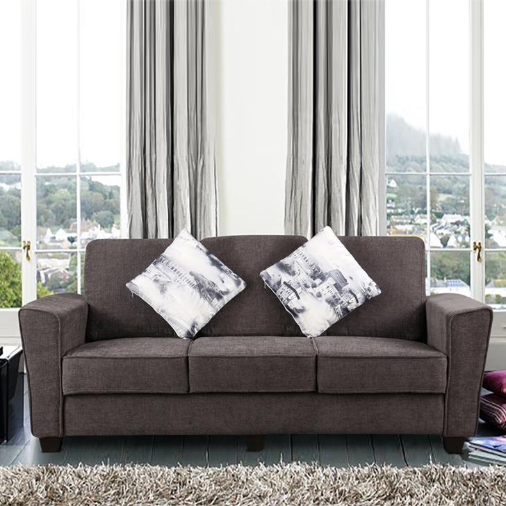 Rogers Fabric Three Seater sofa in Grey Colour by HomeTown