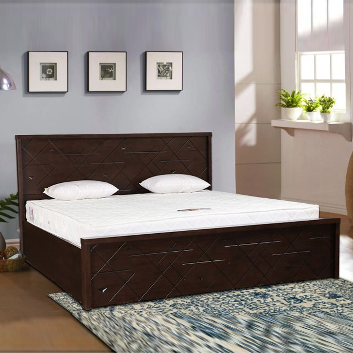 Starlight Rubber Wood Hydraulic Storage Queen Size Bed in Walnut Colour by HomeTown