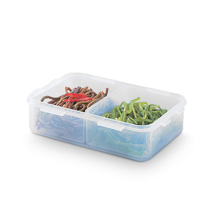 Lock & Lock Classics Short Rectangular Food Container With Divider 550 ml Polypropylene Containers in Transparent Colour by Lock & Lock