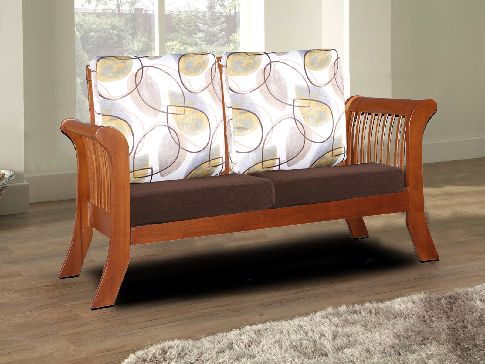 Aubrey Solid Wood Two Seater Sofa With Cushion in Dirty Oak Colour by HomeTown