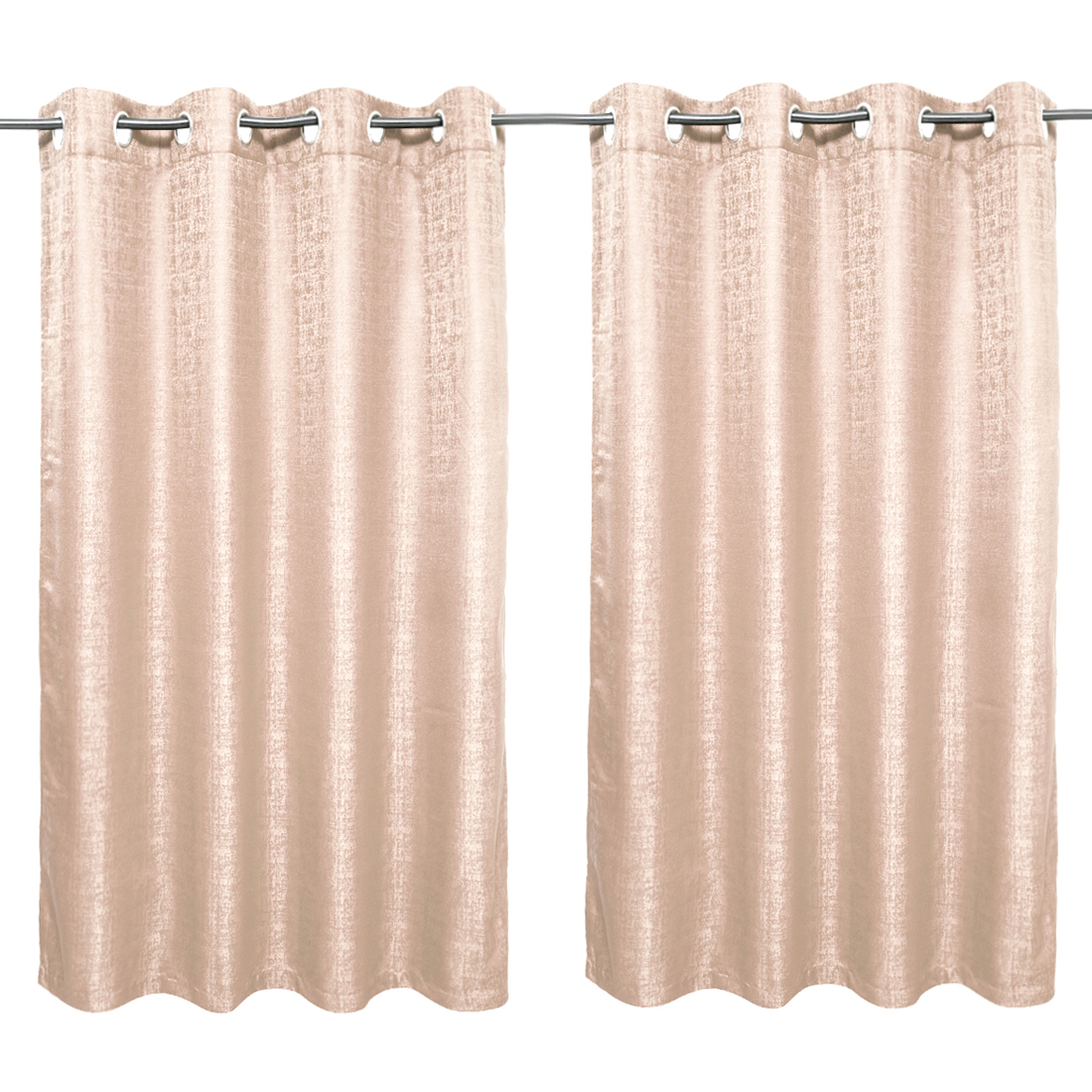 Nora Solid set of 2 Polyester Window Curtains in Beige Colour by Living Essence