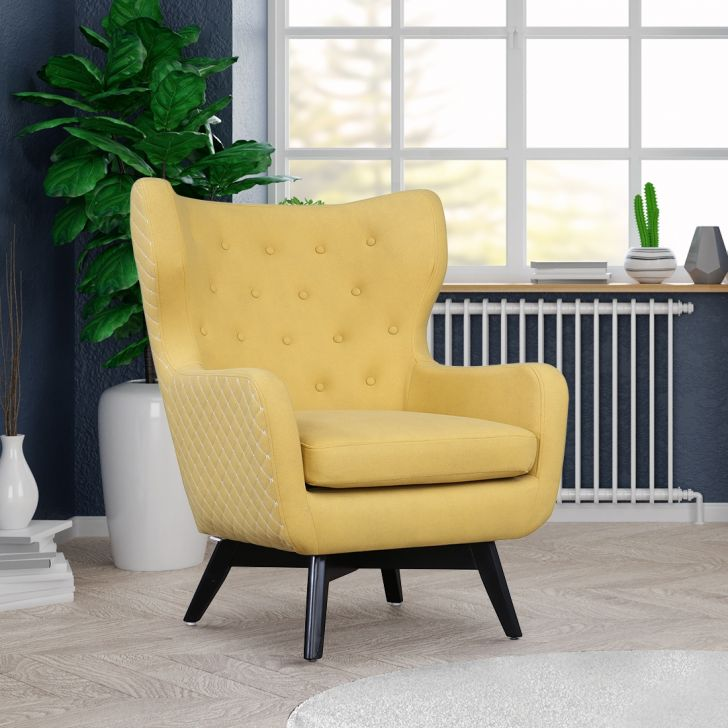 Whitman Solid Wood Arm Chair in Mustard Colour by HomeTown