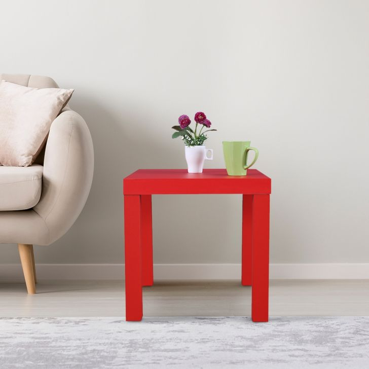 Larix Engineered Wood Side Table in Red Colour by HomeTown