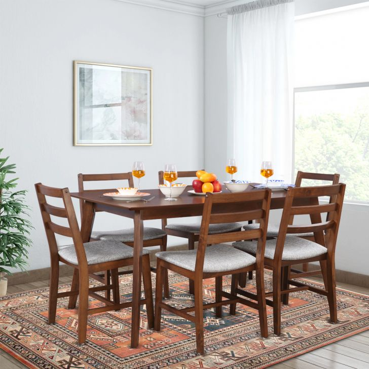 Allen Engineered Wood Six Seater Dining Set in Light Walnut Colour by HomeTown