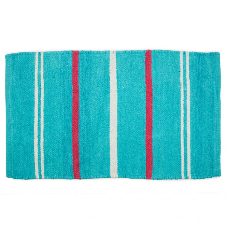 Emilia Dhurrie Blue Chenille Bath Mats in Blue Colour by Living Essence