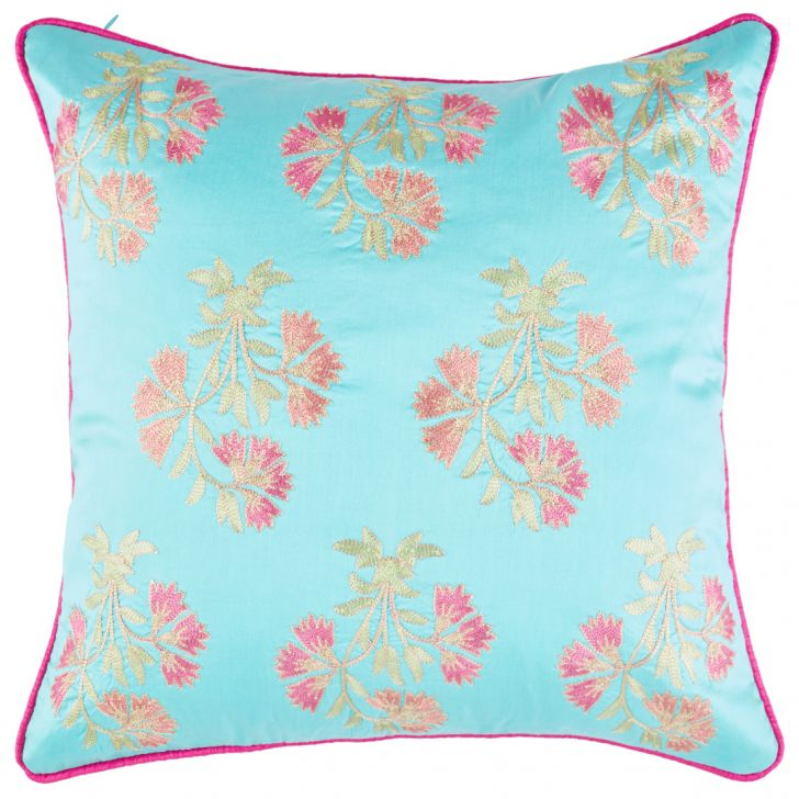Palace Life Butta Polyester Cushion Covers in Aqua Colour by Living Essence