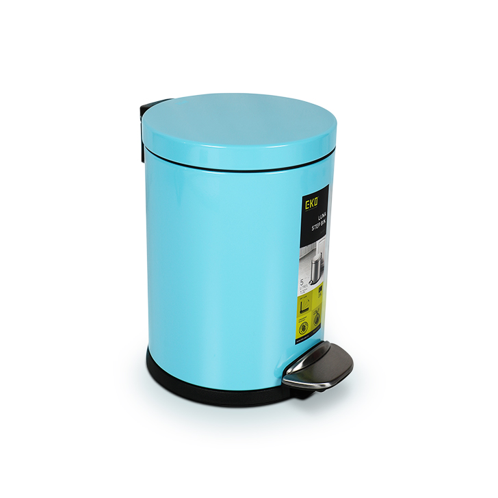 Living Essence Steel and Plastic Dustbins in Teal Blue Colour by Living Essence