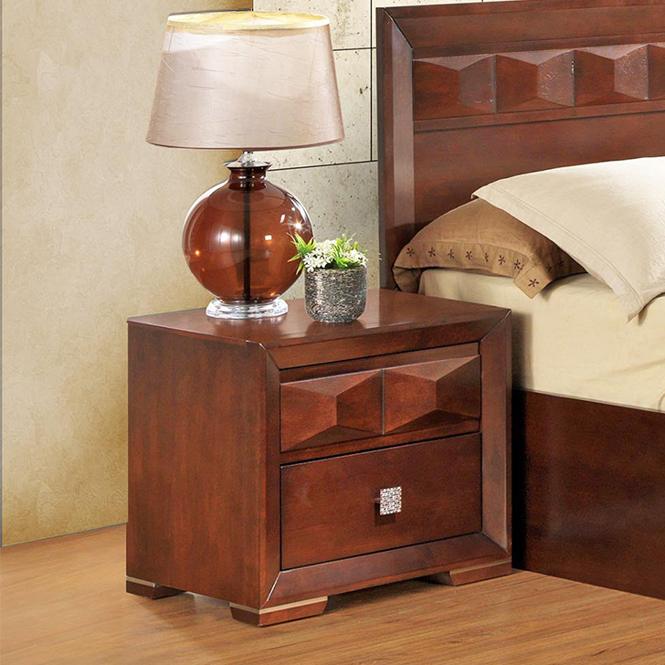 Amelia Solid Wood Bedside Table in Beige & Creame Colour by HomeTown