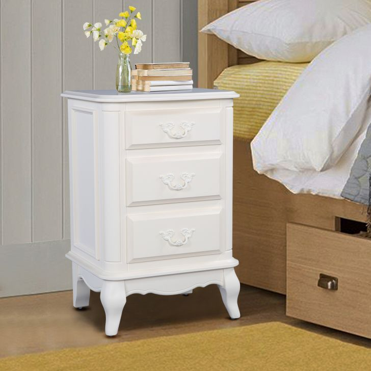Provencale Solidwood Night Stand in Ivory Colour