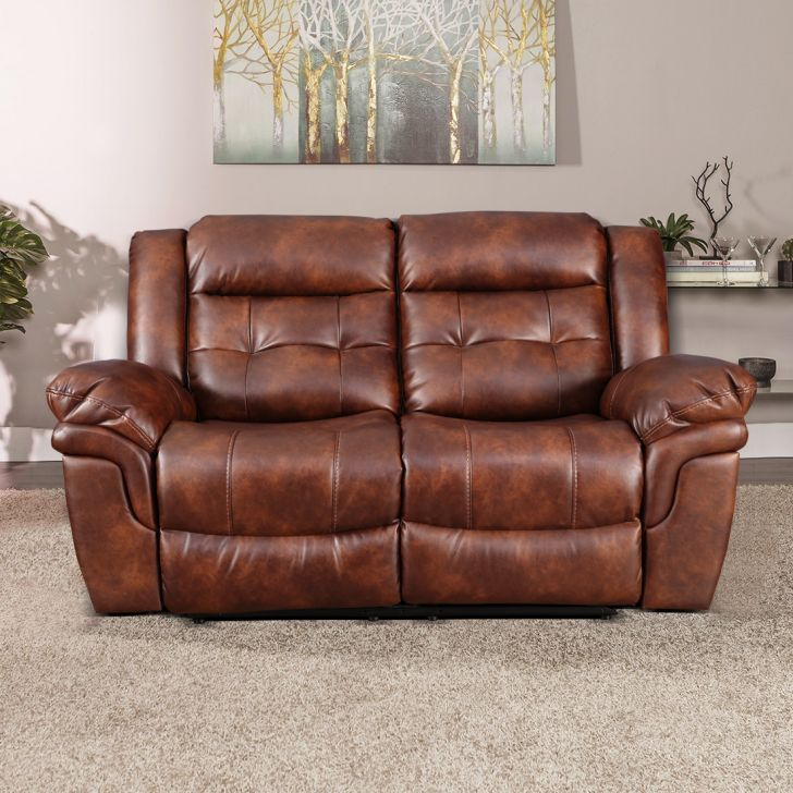 Eclairs Fabric Two Seater Recliner in Tan Colour by HomeTown