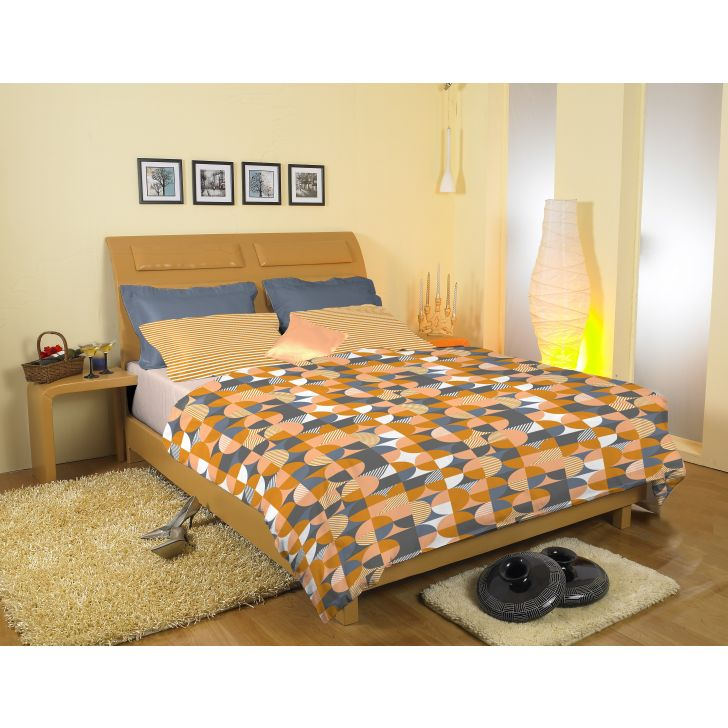 Striped Printed Cotton Double Bedsheet in Yellow Colour by Easy Life