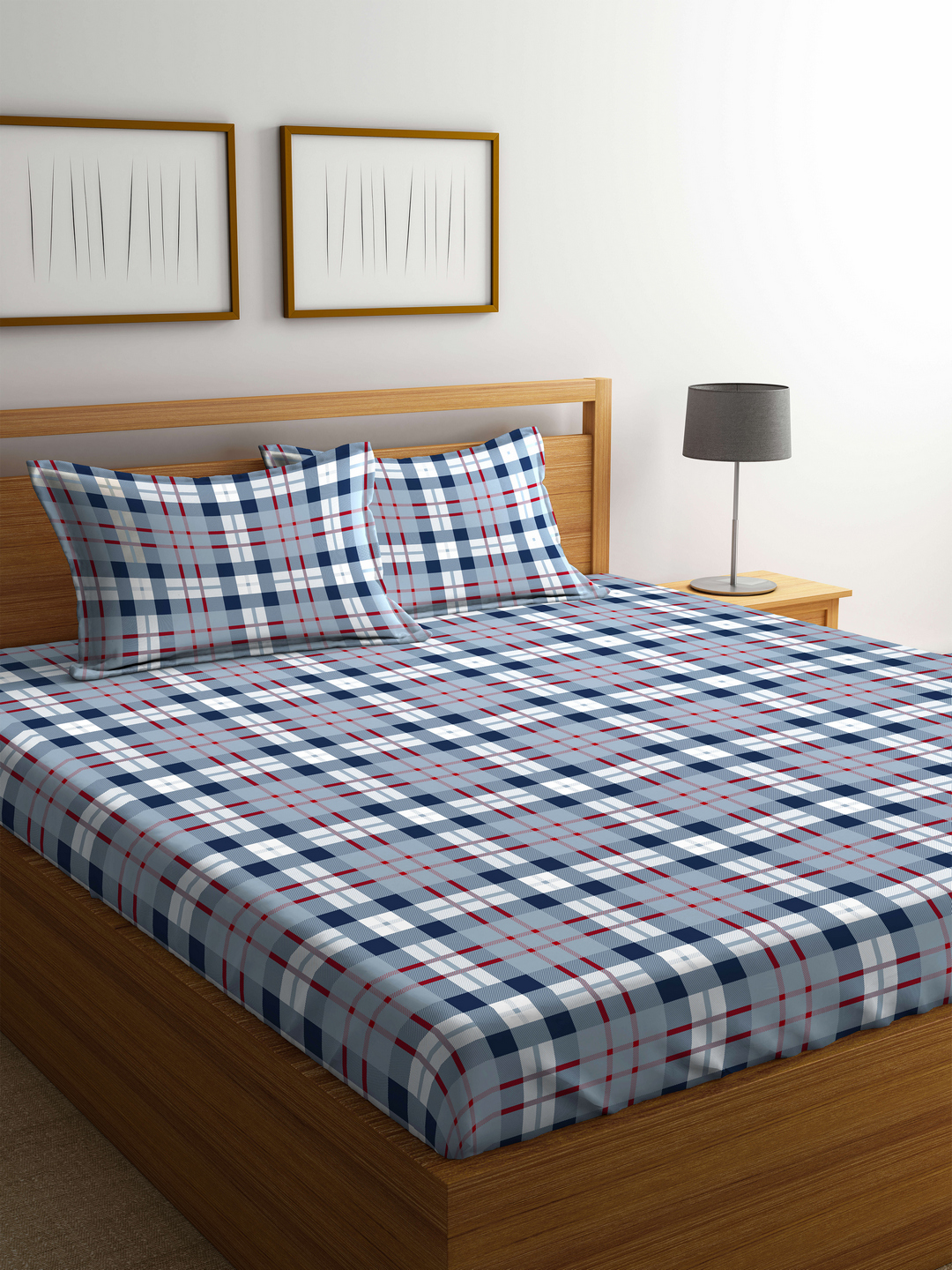 Portico Marvella Flannel Bedsheet Cotton Double Bed Sheets in Multicolour Colour by Portico