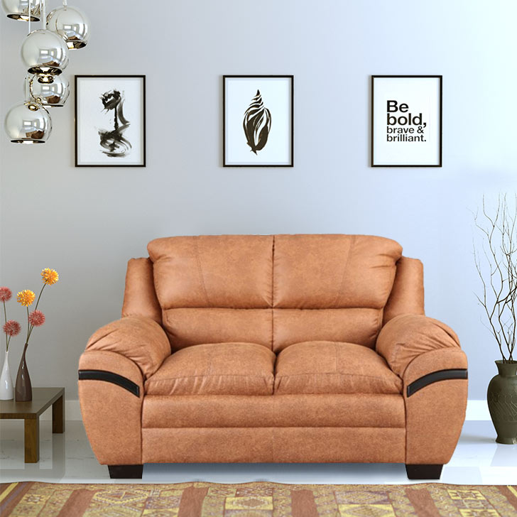 Eleanor Fabric Two Seater sofa in Tan Colour by HomeTown