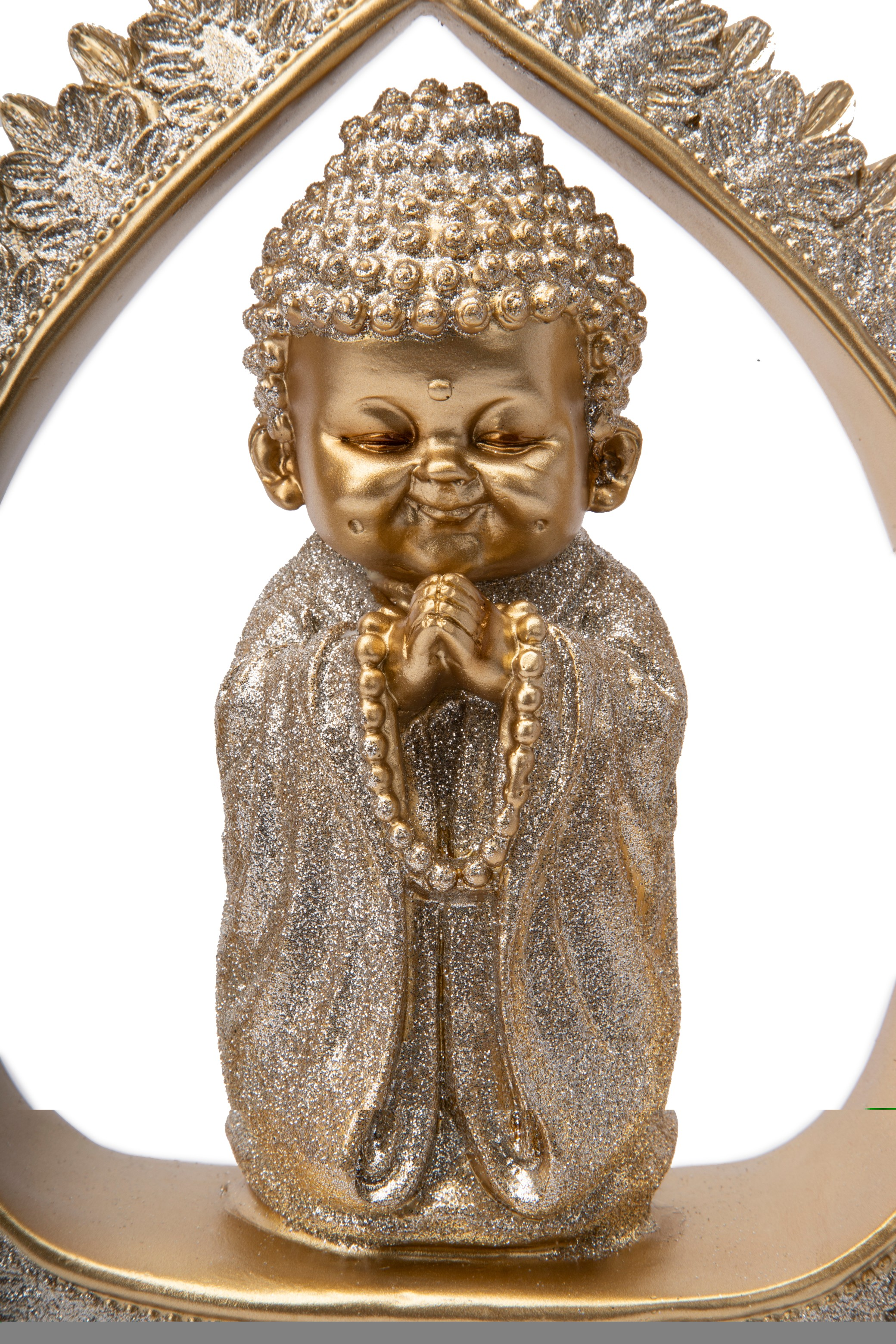 FIO PRAYER MONK IN PEACE FLAME GOLD Figurines in Gold Colour by Living Essence