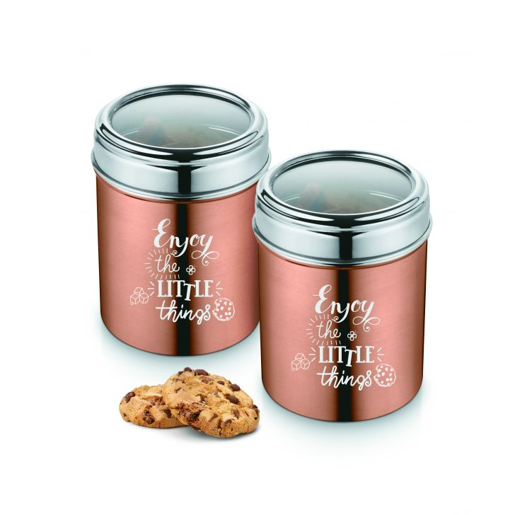 Bonita Kanny Stainless Steel Canister1L Set Of 2 Stainless steel Containers in Copper Colour by Bonita