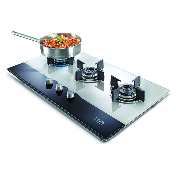 Prestige PHT03 40551 Hobtop 3 Burner Gas Stove Stainless steel Hobs & Chimney in Black Colour by Prestige