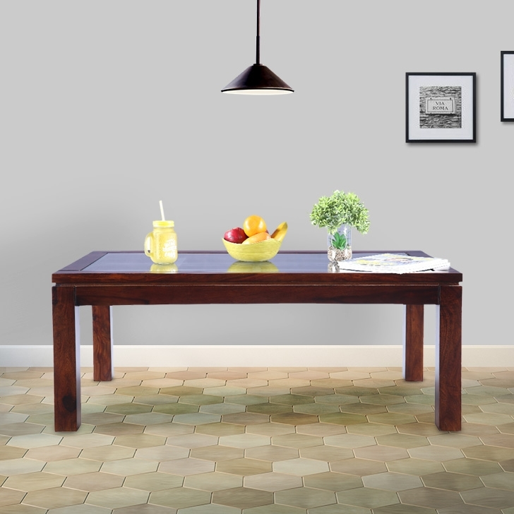 Quark Solid Wood Center Table in Walnut Colour