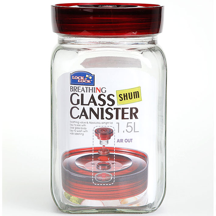 Lock & Lock Transparent & Red Breathing Canister Glass Containers in Transparent Colour by Lock & Lock