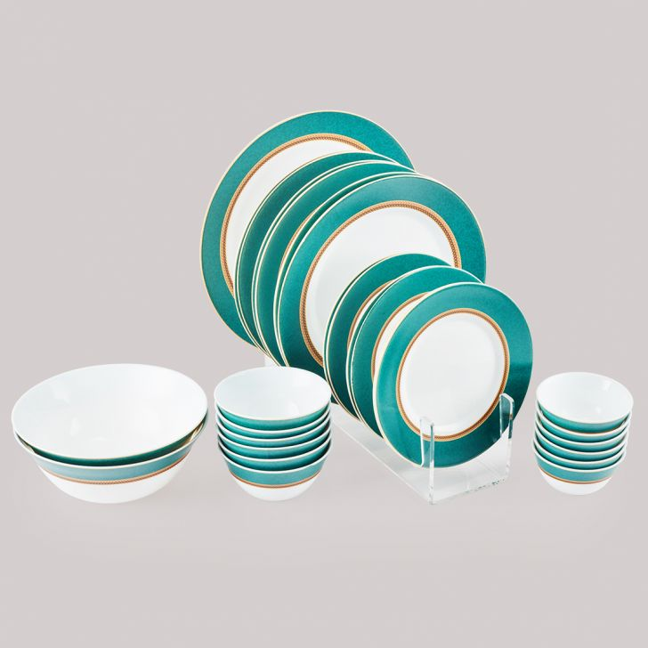 Diva Sovrana Dinner Set 27 Pcs Empres Green Glass Dinner Sets in Multi Colour Colour by Diva
