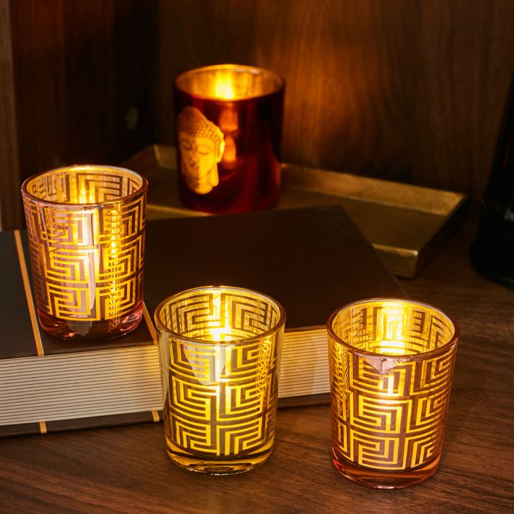 Zahara Set Of 3 Geo Design Glass Candle Holders in GOLD BLUSH PINK Colour by Living Essence