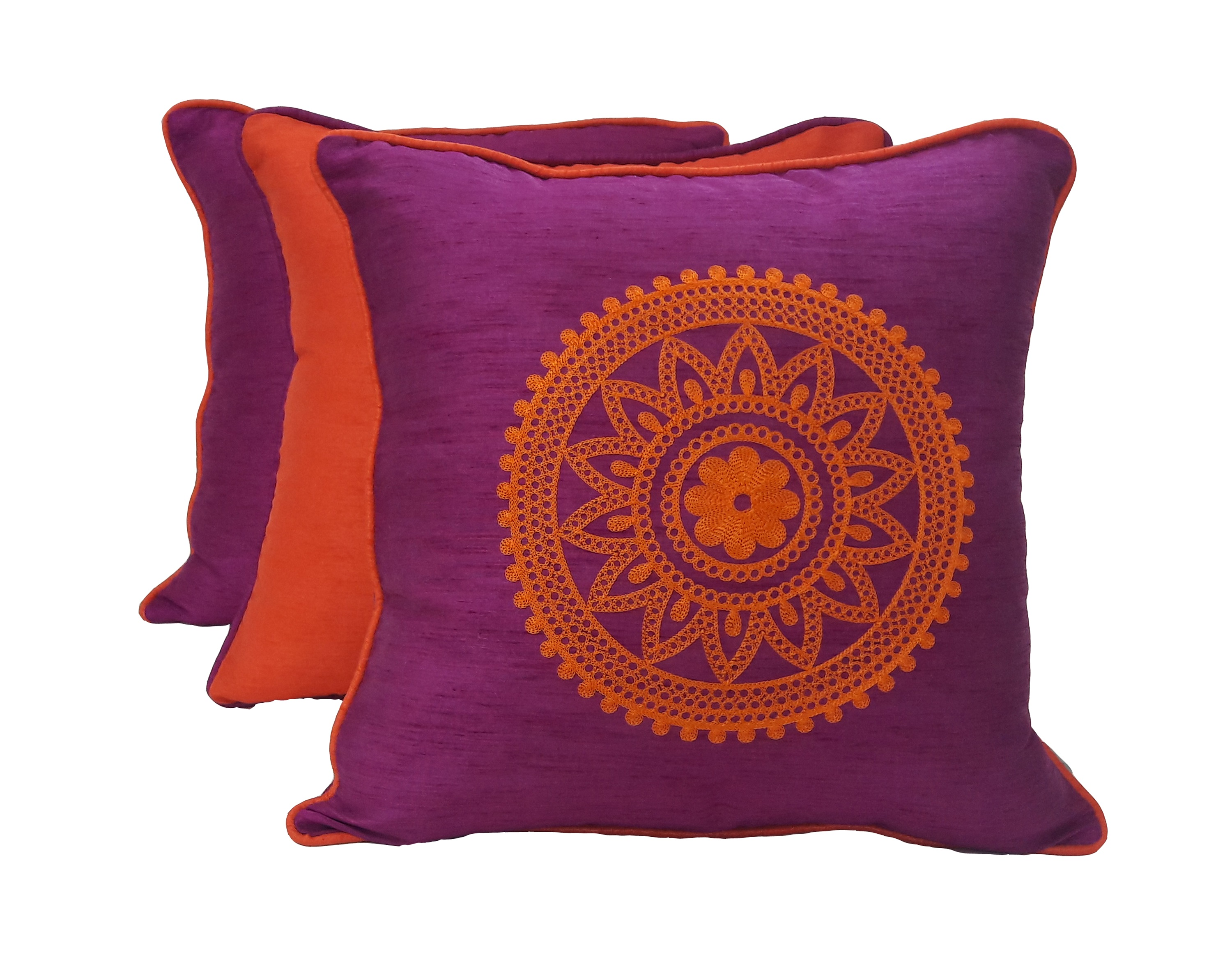 Set Of 3 Cc 16X16 Fiesta Magen Orange Polyester Cushion Cover Sets in Magenta Orange Colour by Living Essence