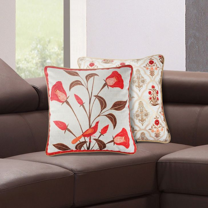 Classique Bell Flower Velvet Cushion Covers in Red Colour by Living Essence