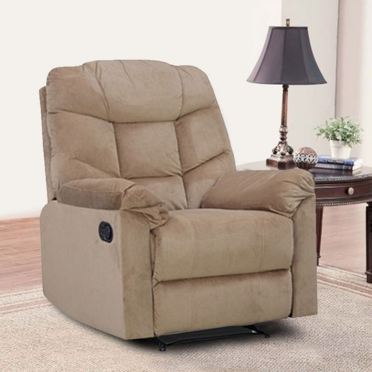Caesar Fabric Single Seater Recliner in Beige Colour by HomeTown